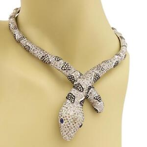 Estate-10-20tcw-Champagne-Diamond-amp-Sapphire-18k-Gold-Snake-Collar-Necklace