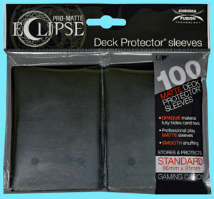 100-ULTRA-PRO-ECLIPSE-JET-BLACK-STANDARD-PRO-MATTE-DECK-PROTECTOR-Card-Sleeves