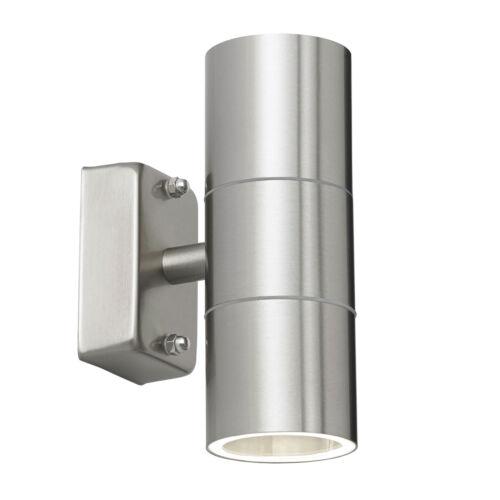 Endon Canon fino in fondo all/'aperto Luce Muro IP44 35W in acciaio inox lucido e vetro
