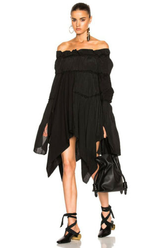 LOEWE BLACK GATHERED & FRAYED OFF SHOULDER DRESS