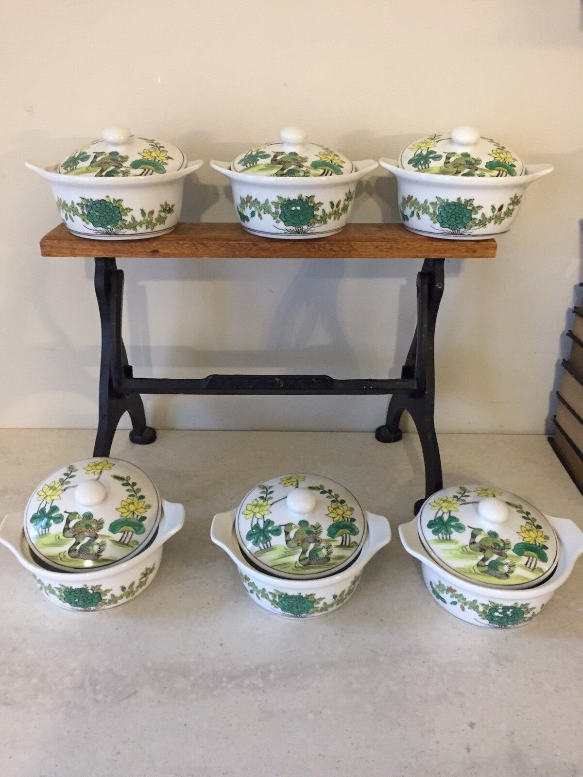 Vintage Japanese porcelain coverouge casserole set Of 6 hand painted ACF