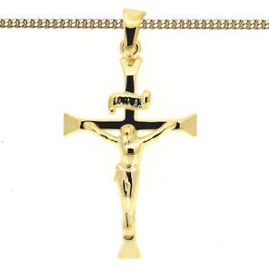 Gold 333 Kreuz Anhänger Jesus Christus Taufe Kommunion mit Kette Silber 925 verg