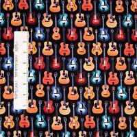 Music Fabric - Dan Morris Acoustic Guitars On Black - Springs 24