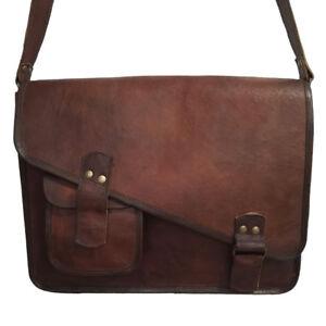 New Men/'s Genuine Vintage Leather Messenger Shoulder Laptop Leather Full Flap