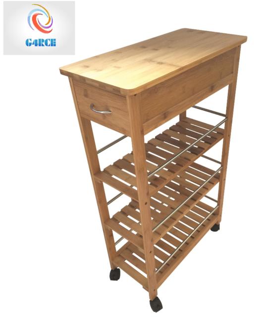 4 Tier Slim Portable Natural Bamboo Wood Kitchen Trolley Organiser Wheels Basket