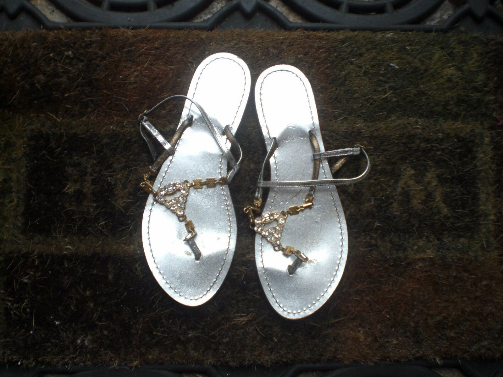 J Crew Sandals  Straps Stones Silver Leather  Size 7