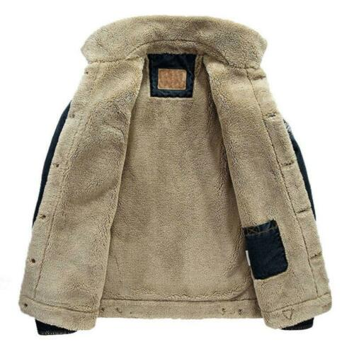 Men Denim Jean Fur Collar Fleece Lined Jacket Fashion Casual Denim Winter Coat D