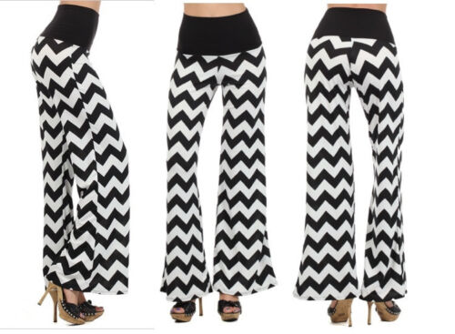 L NEW FOLD OVER POPULAR TRENDY CHEVRON STRIPED WIDE LEG  FLARED PANTS S