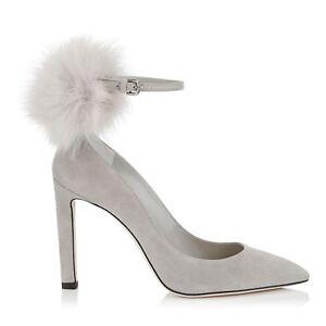 6a198e0b09d Jimmy Choo South 100 Pointy Toe Pumps Suede Moonstone Heels Shoes 38 ...