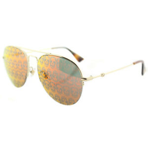 2d003720a83 Image is loading Gucci-GG0107S-002-Gold-Metal-Aviator-Sunglasses-Orange-