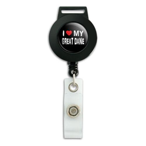 Lanyard Retractable Reel Badge ID Card Holder I Love My Great Dane Stylish
