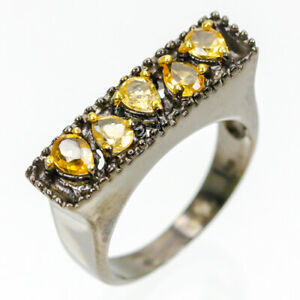 Fine-Jewelry-Natural-Citrine-925-Sterling-Silver-Vintage-Ring-Size-6-5-R83700