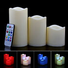 "Set Of 3Pcs Flameless LED Candles Light With Remote 12 Color Changing 4"" 5"" 6"""
