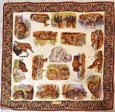 Gucci Vintage Animal 100% Silk Scarf Italy