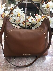 8a6c19cd7843 NEW MICHAEL KORS ARIA STUDDED BROWN LEATHER MD HOBO SHOULDER BAG ...