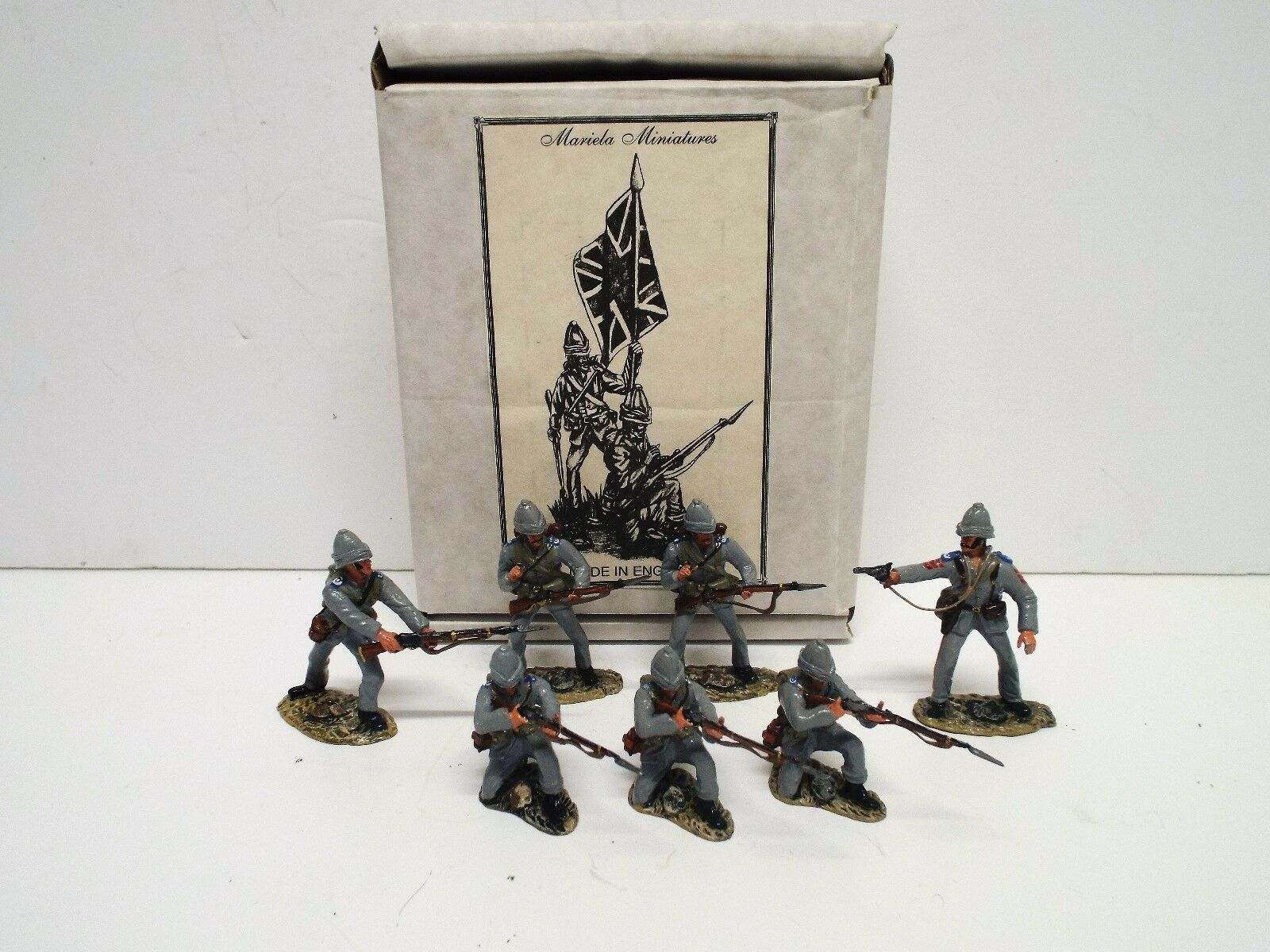 MARIELA MINIATURES 7 X 1884 ROYAL MARINES LIGHT INFANTRY SET BOXED. (BS2338)