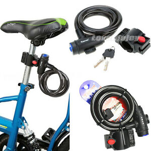 Bicycle-Bike-Cycle-Motorbike-Heavy-Duty-Coil-Security-Lock-Steel-Cable-Chain-Key