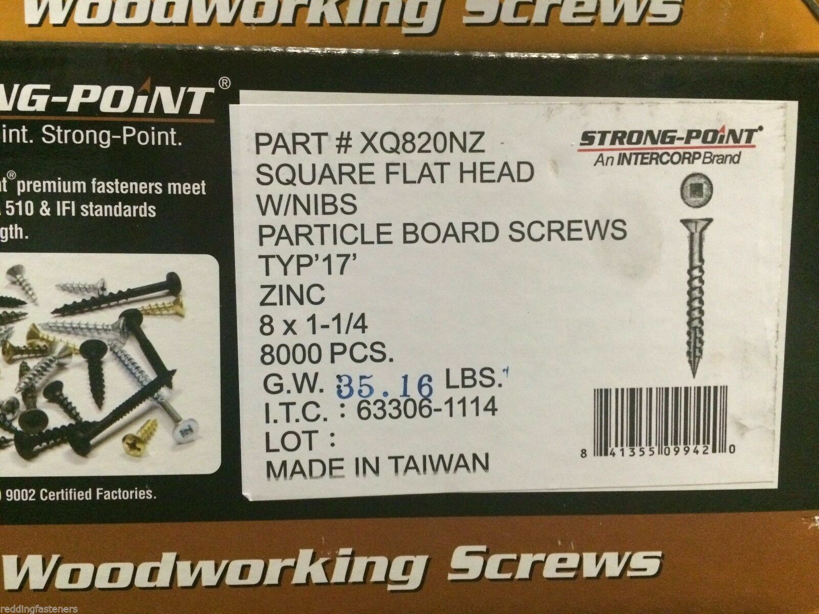 "Square 4,000 INTERCORP XQ820NZ #8 X 1-1//4/"" Particle Board Cabinet Screws"