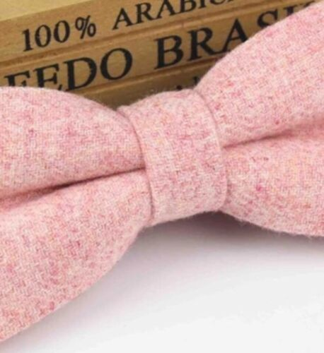UK. Country Pink Blush Tweed Wool Pre-Tied Mens Bow Tie Great Reviews