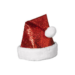 Adult Size Sequin Santa Hat With Faux Fur Border Puffy Ball Christmas Accessory