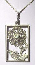 Ancien pendentif collier bijou vintage couleur argent perle cristal diamant 3431