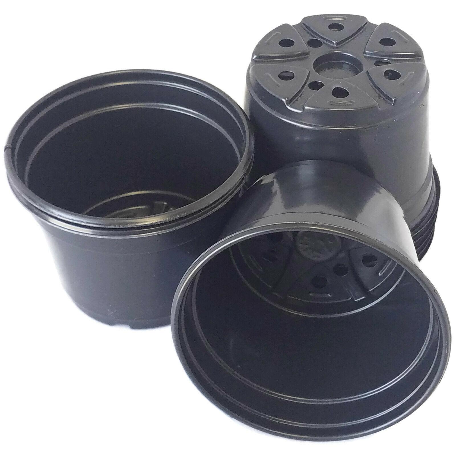 5 inch Round Black Plastic Pots - SET OF 25 - (5