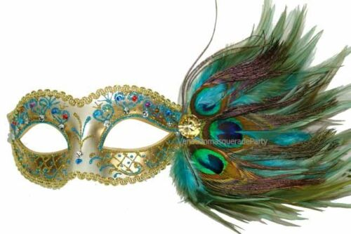 Gold Turquoise Peacock Feather Costume dress up Masquerade Party Ball eye Mask