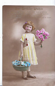 Greetings Postcard Best Birthday Wishes Young Girl Holding