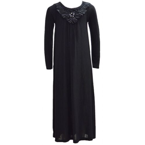 Girls Maxi School Dress Kids Plain Black Long Sleeve Holiday Abaya Islamic Top