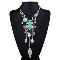 Silver Turquoise Choker Chunky Jewelry Statement Chain Pendant Bib Necklace blue
