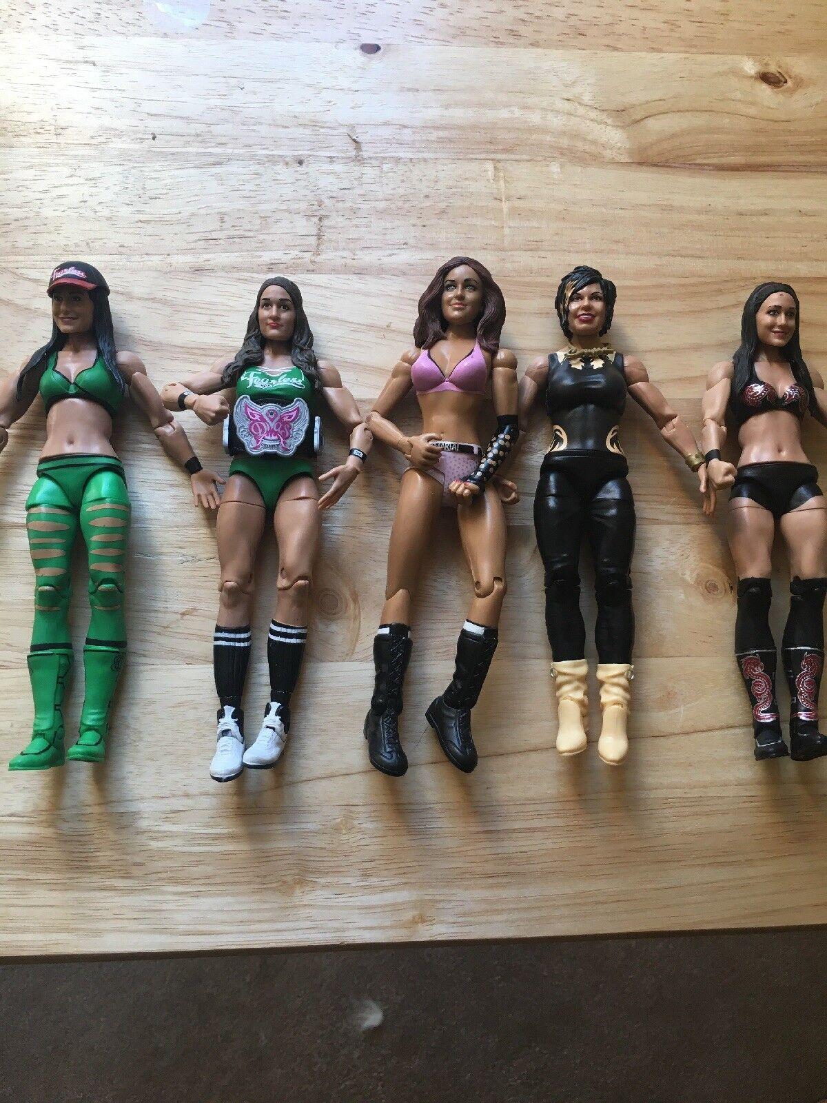 WWE Female Wrestler Figures - Lot - Rare