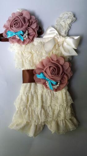 Vintage Girl Posh Petti Ruffle Romper baby romper headband sash all kids size
