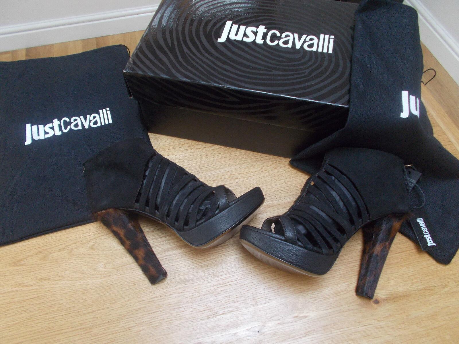 JUST CAVALLI Designer Black Leather Strappy Platform Sandals UK4 BNIB