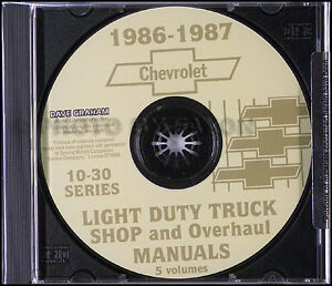 1986 Chevy Truck CD Shop Manual and Wiring Diagrams Pickup ...