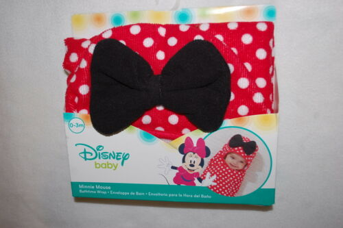 Baby Girls MINNIE MOUSE Hooded Bath Wrap Towel RED WHITE POLKA DOT Bow 0-3 MO