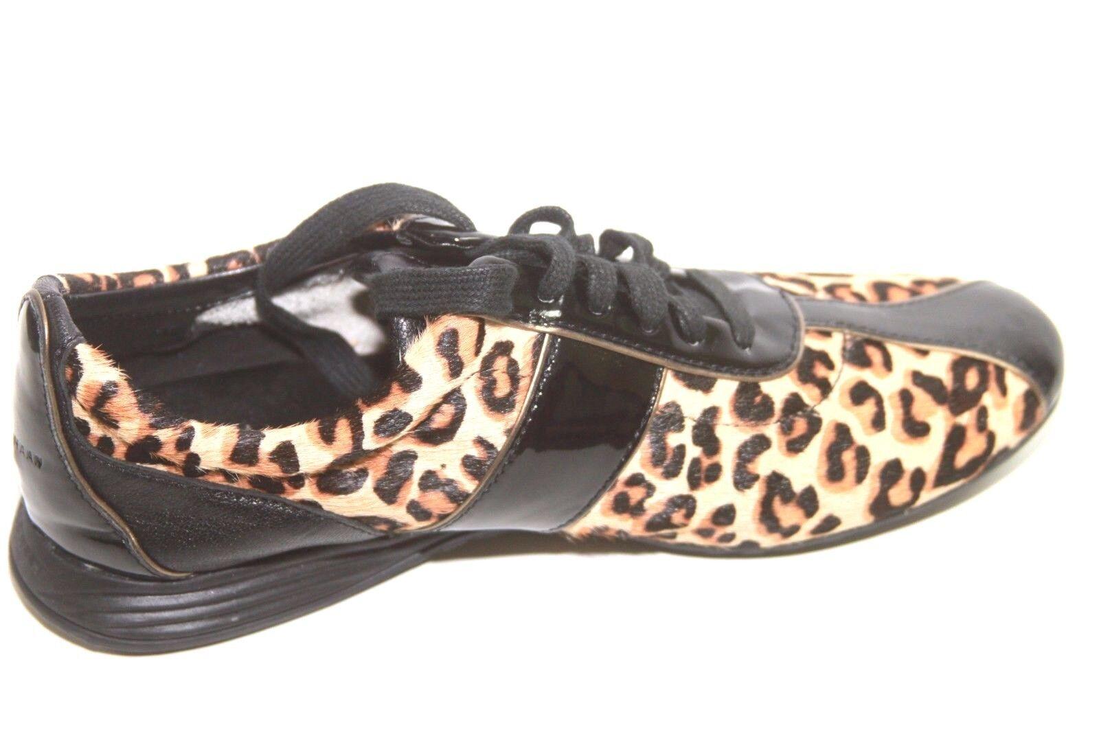 Cole Haan W00266 Cheetah Print Calf Hair Patent Bria Bria Bria Grand Sneakers Sz 6.5 NWOB cd1535