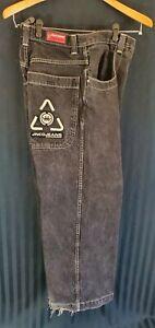 Vintage-JNCO-Jeans-33x32-Wide-Leg-Skater-Streetwear-90-s-Black-Crown-Logo