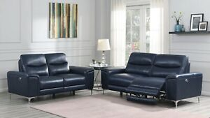 Top Grain Ink Blue Leather Power Reclining Sofa Loveseat Living Room