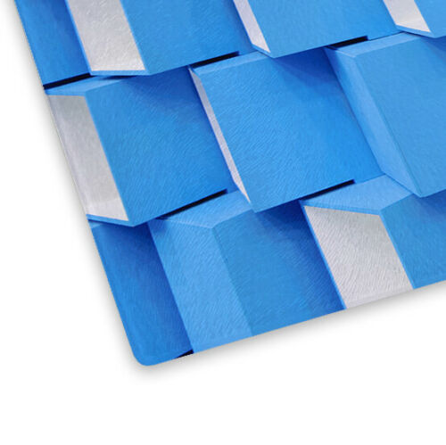 Blue White Squares Glass Chopping Board Kitchen Worktop Saver Protector
