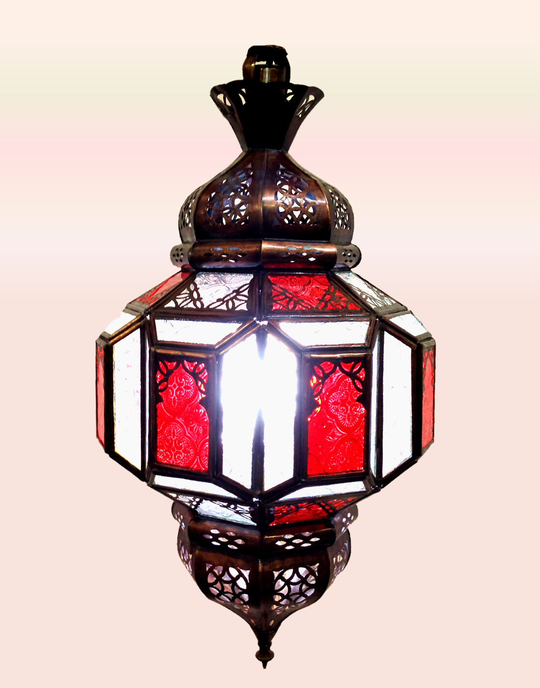 MGoldccan Ceiling Lantern Marrakesh Flower - Clear & rot Glass - 50Cm