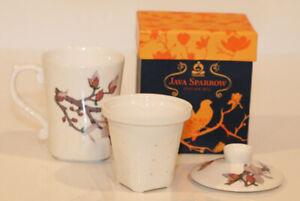 Teavana Java Sparrow Infuser Mug, LN in Box, Artist Chang Hsitsun, 8 oz Cup