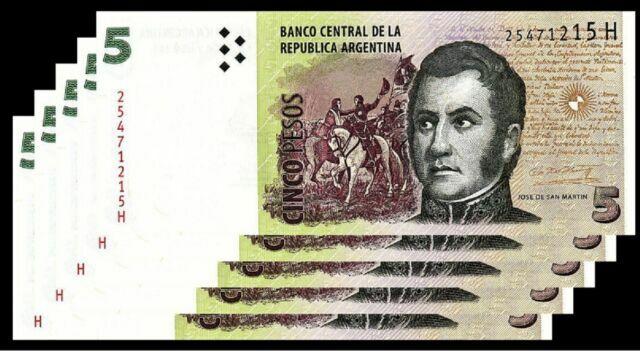 JOSE DE SAN MARTIN ARGENTINA 5 PESOS 2013 UNCIRCULATED  P 353 H SERIAL