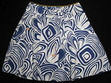 Women's 4 CABi Lombard Style # 470 Blue White Swirl Pleated Skirt