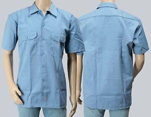 Dickies-Hemd-Shortsleeve-Work-Shirt-Gulfblue-hellblau-Groessen-S-bis-3XL