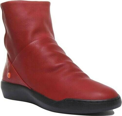 Softinos Damen Seitenreißverschluss Freizeit Leder Stiefeletten in Rot UK Gr 3 -