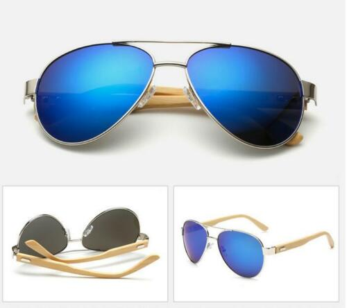 New Unisex Bamboo Wood Sunglasses Fashion Metal Wooden Temple Driving Glasses