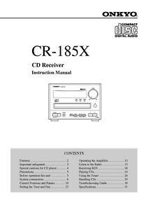 onkyo cr 185x cd receiver owners manual ebay rh ebay com onkyo user manual onkyo owners manual download