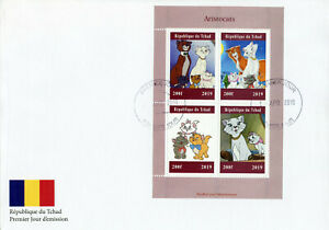 Chad-2019-FDC-Aristocats-4v-M-S-Cover-Cats-Disney-Animation-Cartoons-Stamps