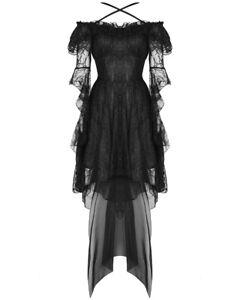 Dark In Love Gothique Dentelle Robe Soiree Noir Floral Maille Bal Fairy Sorciere Ebay