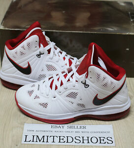Men's Nike LeBron 8 VIII V2 White Black Sport Red Sneakers : E72x1438